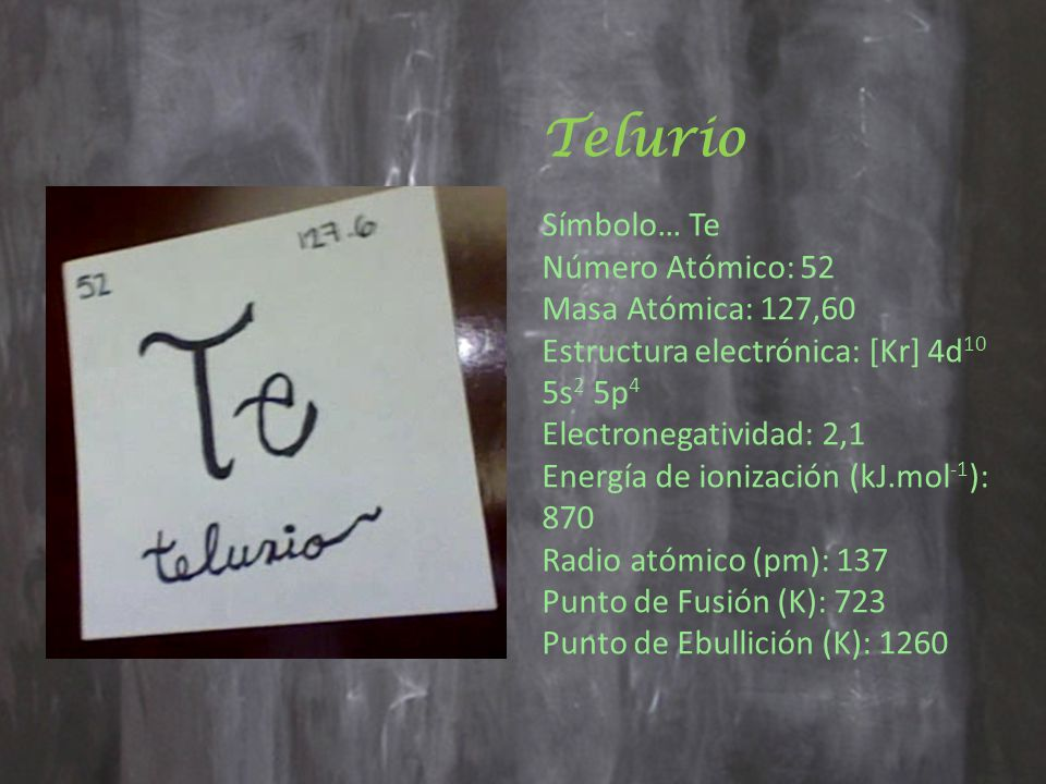 Telurio Símbolo… Te.