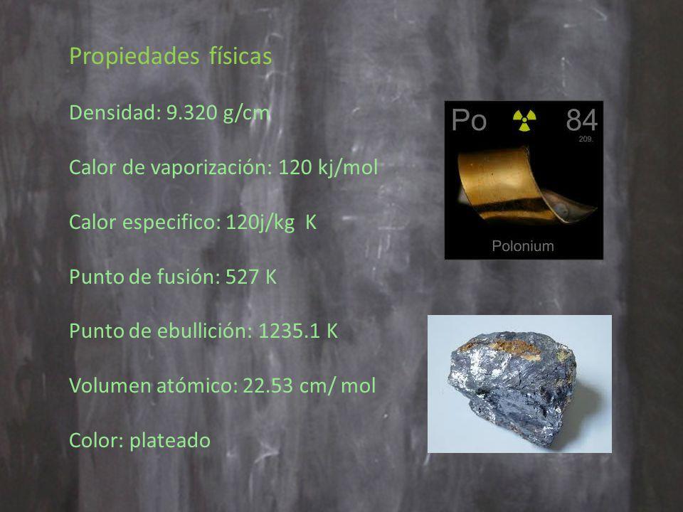 Propiedades físicas Densidad: 9.320 g/cm