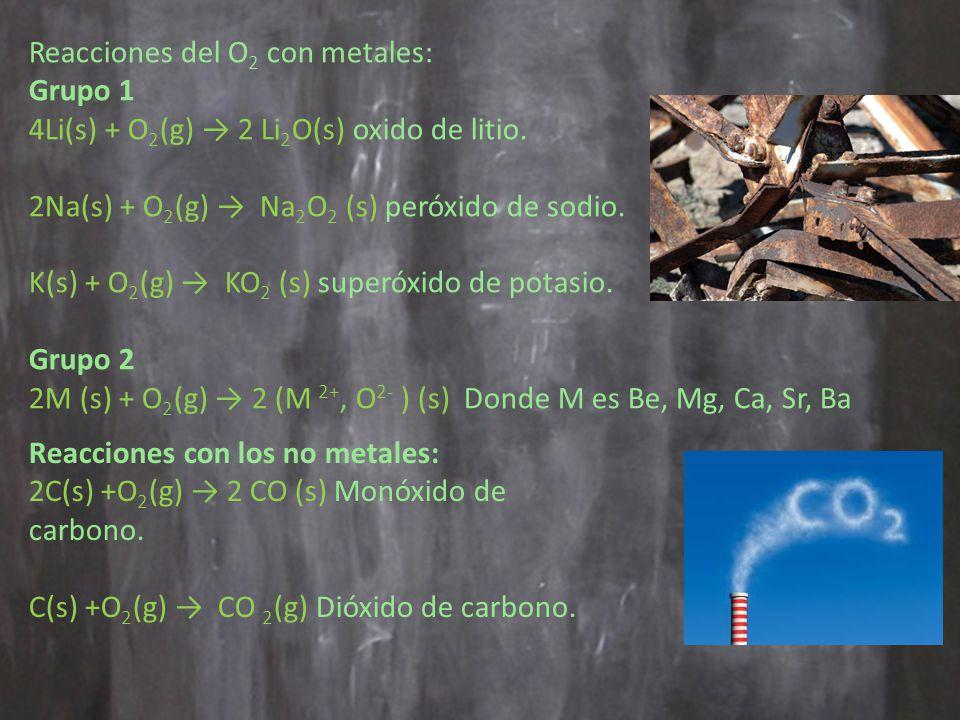 Reacciones del O2 con metales: Grupo 1