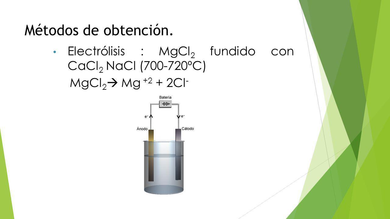 Métodos de obtención. Electrólisis : MgCl2 fundido con CaCl2 NaCl (700-720ºC) MgCl2 Mg +2 + 2Cl-
