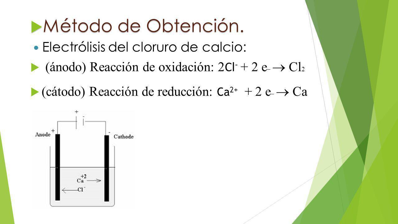 Método de Obtención. Electrólisis del cloruro de calcio: