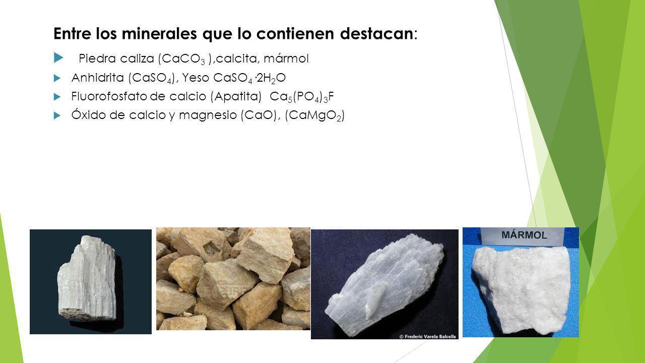 Entre los minerales que lo contienen destacan:
