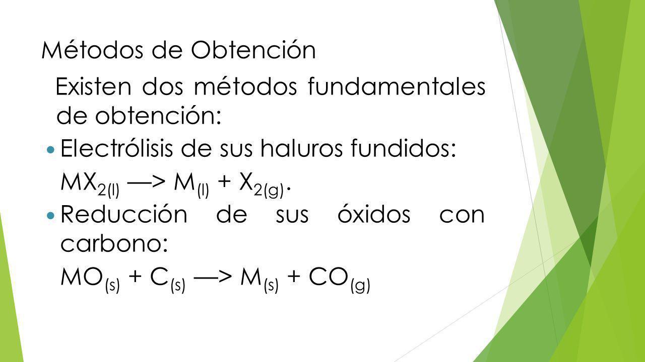 Métodos de Obtención Existen dos métodos fundamentales de obtención: Electrólisis de sus haluros fundidos: