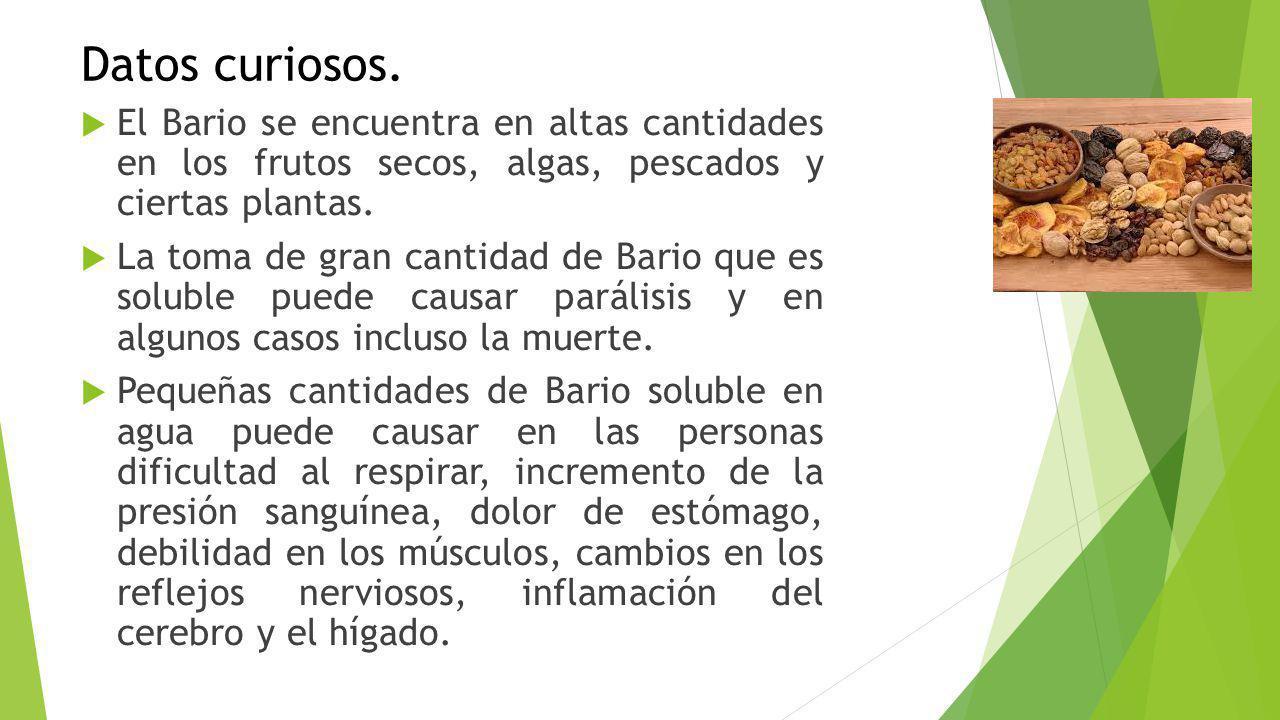 Datos curiosos. El Bario se encuentra en altas cantidades en los frutos secos, algas, pescados y ciertas plantas.