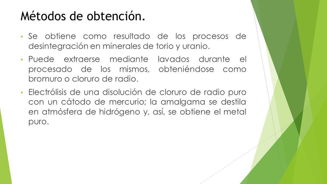 Métodos de obtención. Se obtiene como resultado de los procesos de desintegración en minerales de torio y uranio.