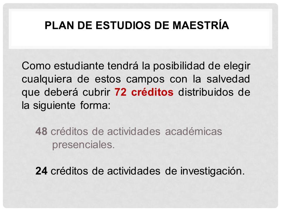 PLAN DE ESTUDIOS DE MAESTRÍA