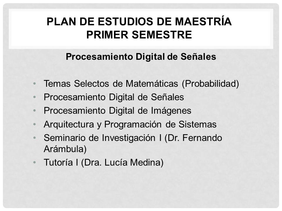 Plan de estudios de Maestría Primer Semestre