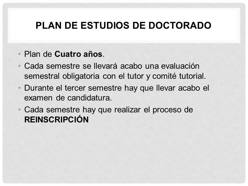 Plan de estudios de Doctorado