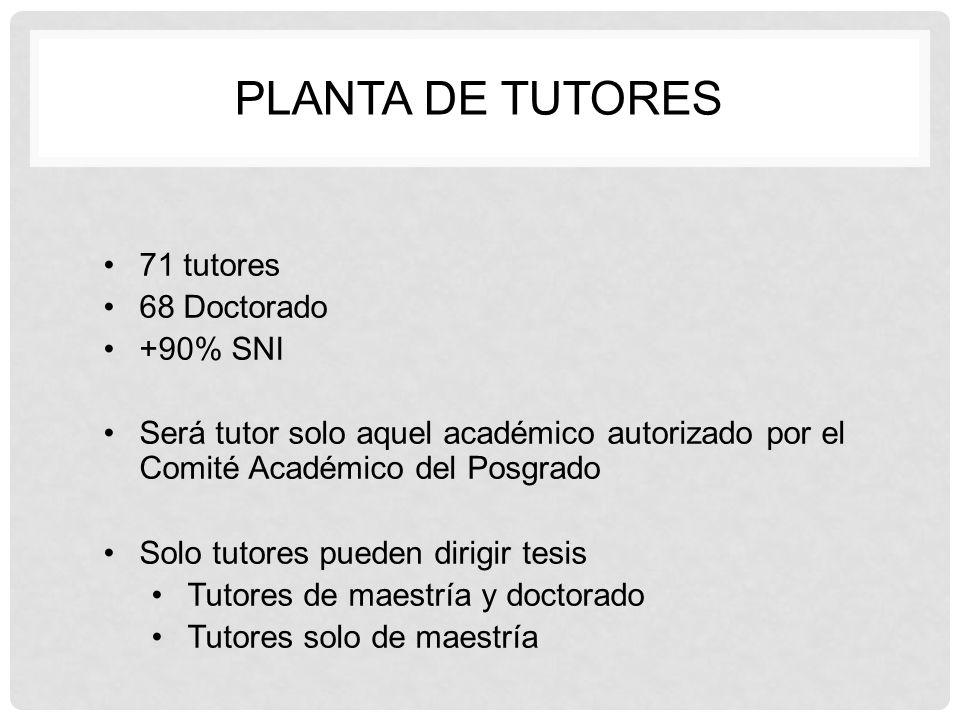 planta de tutores 71 tutores 68 Doctorado +90% SNI