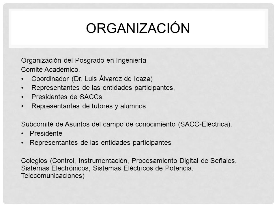 ORGANIZACIÓn Organización del Posgrado en Ingeniería Comité Académico.