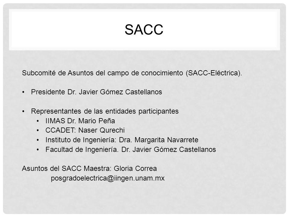 SACC Subcomité de Asuntos del campo de conocimiento (SACC-Eléctrica).