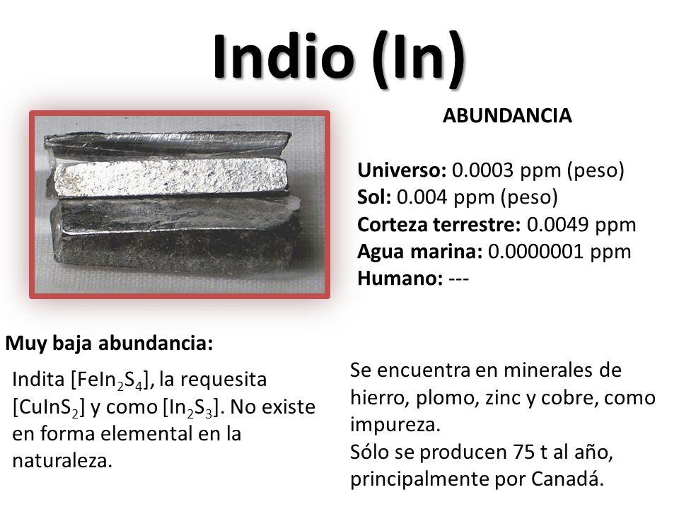 Indio (In) ABUNDANCIA Universo: 0.0003 ppm (peso)