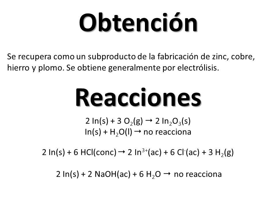 Obtención Se recupera como un subproducto de la fabricación de zinc, cobre, hierro y plomo. Se obtiene generalmente por electrólisis.