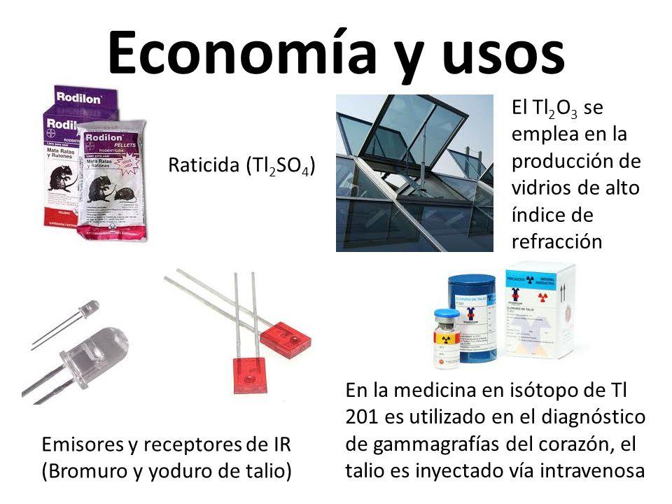 Economía y usos El Tl2O3 se emplea en la producción de vidrios de alto índice de refracción. Raticida (Tl2SO4)