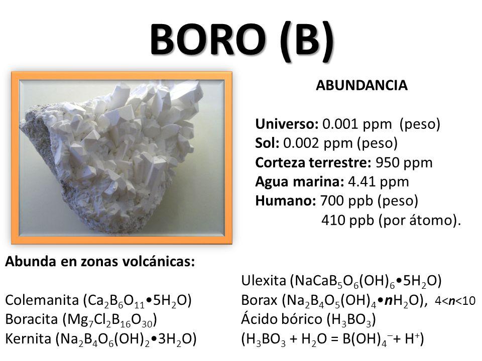 BORO (B) ABUNDANCIA Universo: 0.001 ppm (peso) Sol: 0.002 ppm (peso)