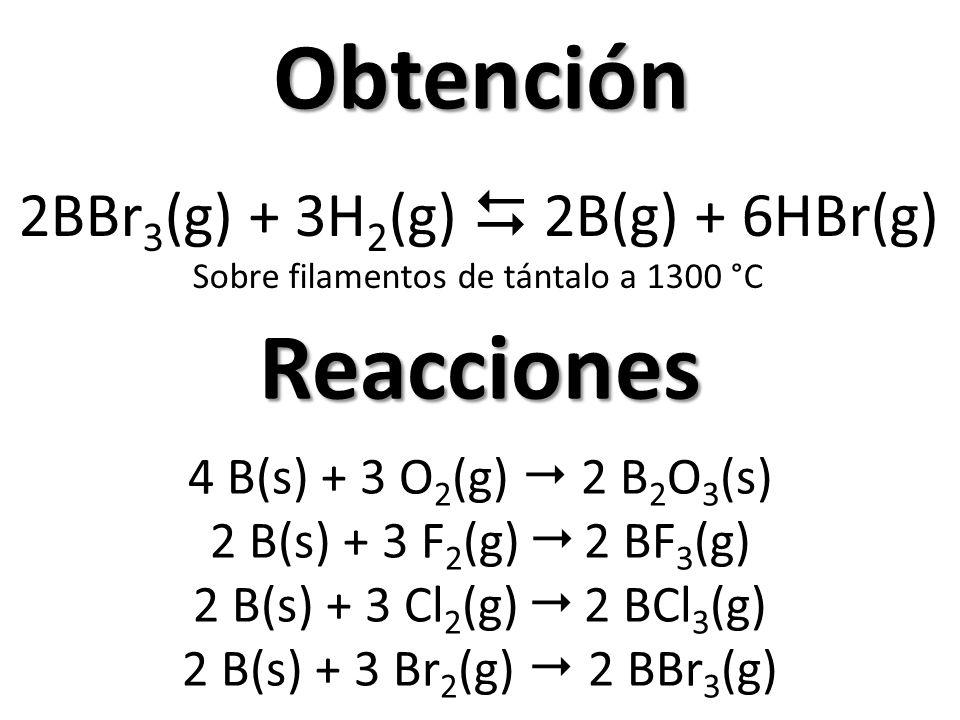 Obtención Reacciones 2BBr3(g) + 3H2(g)  2B(g) + 6HBr(g)
