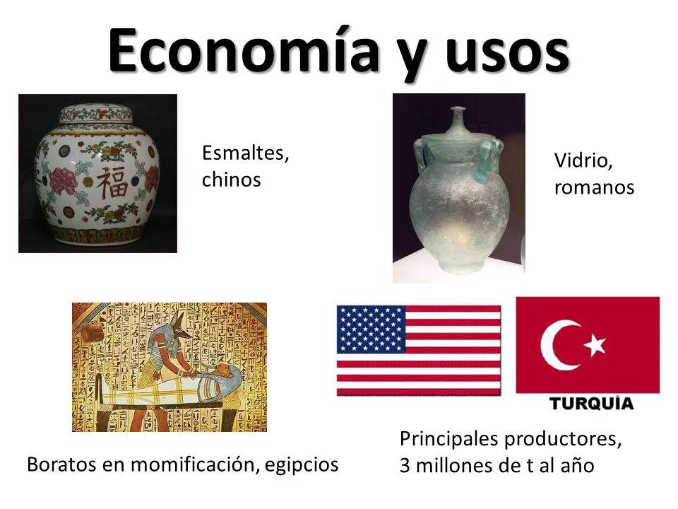 Economía y usos Esmaltes, chinos Vidrio, romanos