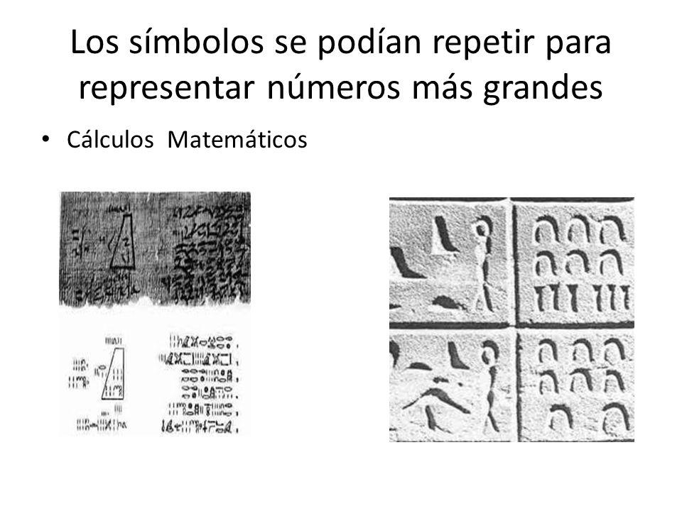Los símbolos se podían repetir para representar números más grandes