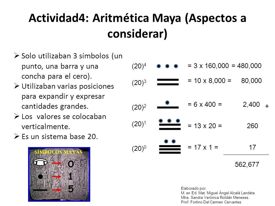 Actividad4: Aritmética Maya (Aspectos a considerar)