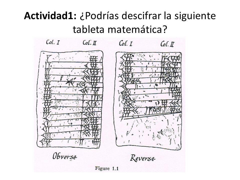 Actividad1: ¿Podrías descifrar la siguiente tableta matemática