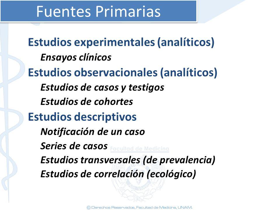 Fuentes Primarias Estudios experimentales (analíticos)