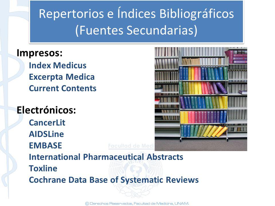Repertorios e Índices Bibliográficos (Fuentes Secundarias)