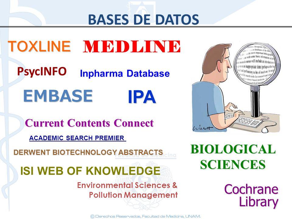 IPA BASES DE DATOS MEDLINE EMBASE TOXLINE PsycINFO BIOLOGICAL SCIENCES