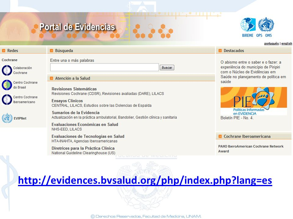 http://evidences.bvsalud.org/php/index.php lang=es