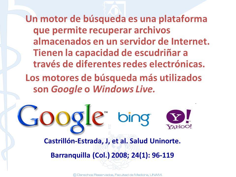 Los motores de búsqueda más utilizados son Google o Windows Live.