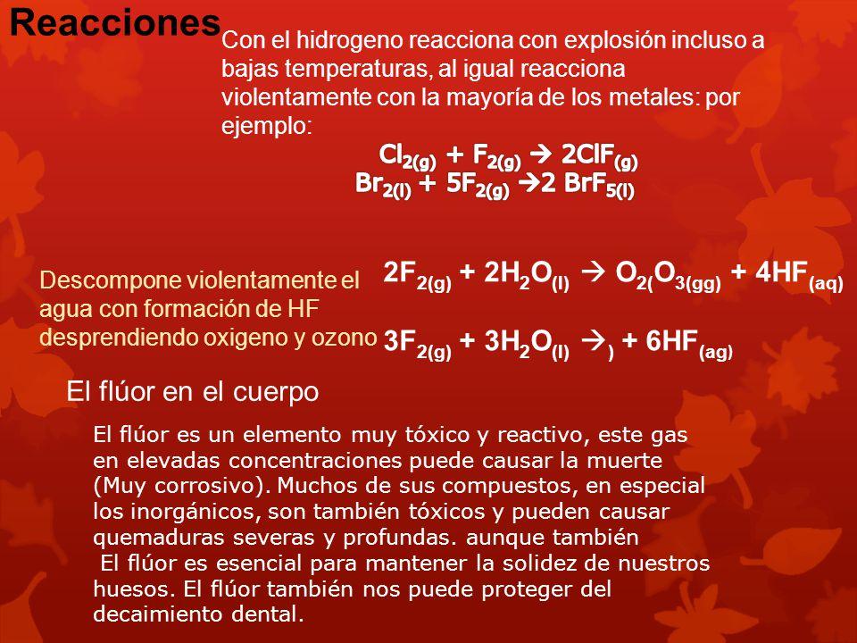 Reacciones 2F2(g) + 2H2O(l)  O2(O3(gg) + 4HF(aq)