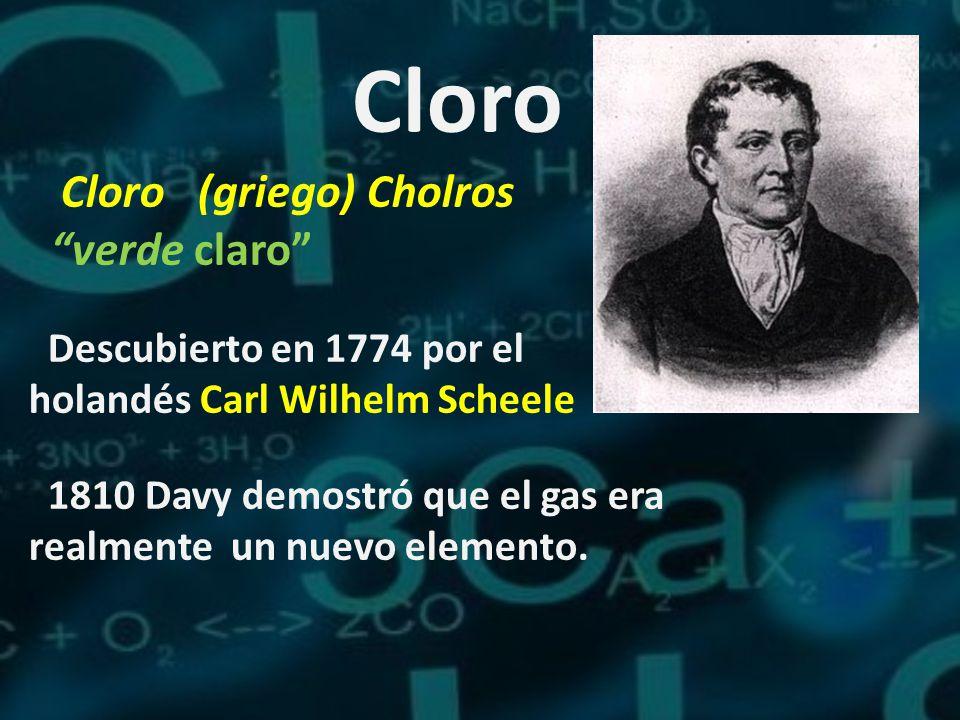 Cloro Cloro (griego) Cholros verde claro Descubierto en 1774 por el