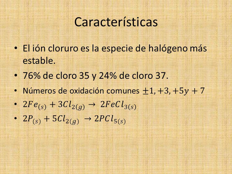 Características El ión cloruro es la especie de halógeno más estable.