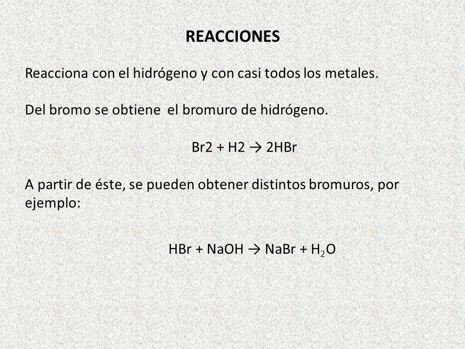REACCIONES Reacciona con el hidrógeno y con casi todos los metales.