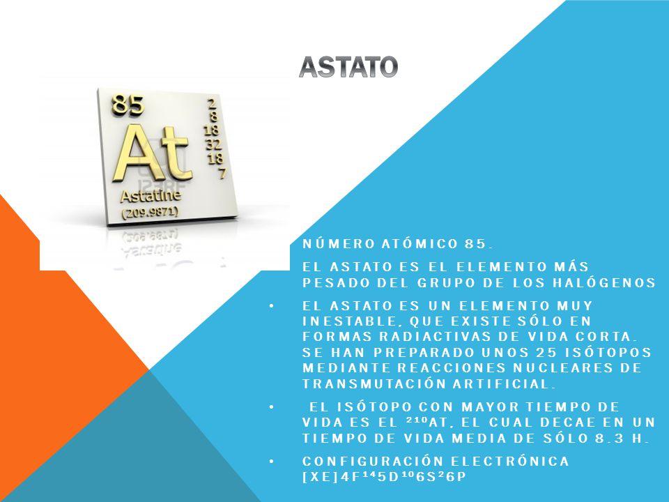 ASTATO número atómico 85. El Astato es el elemento más pesado del grupo de los halógenos.