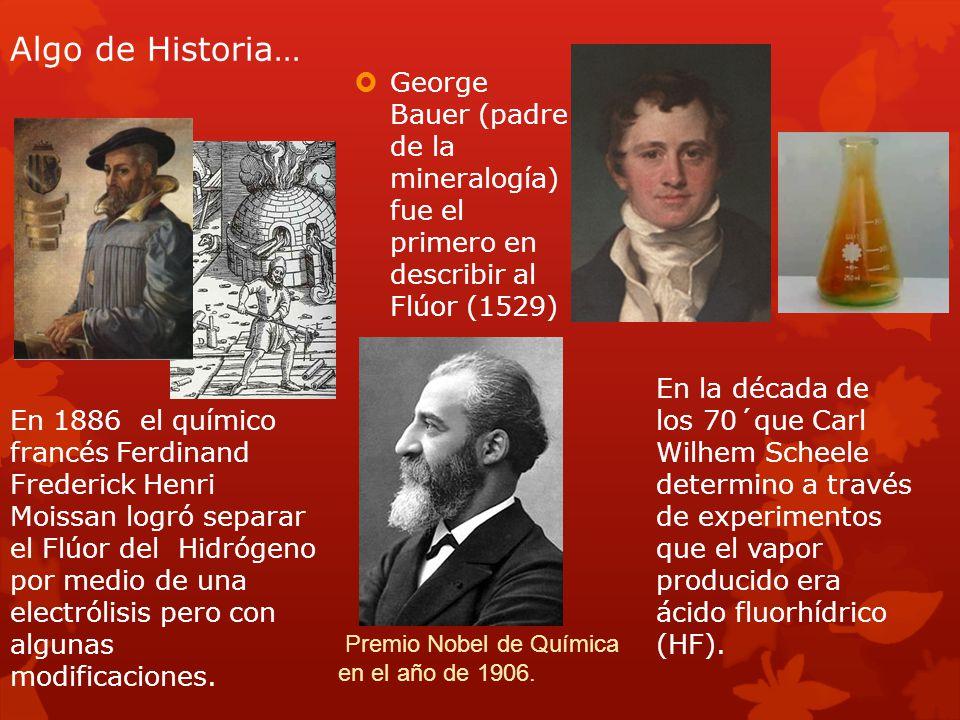 Algo de Historia… George Bauer (padre de la mineralogía) fue el primero en describir al Flúor (1529)