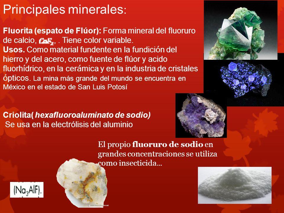 Principales minerales: