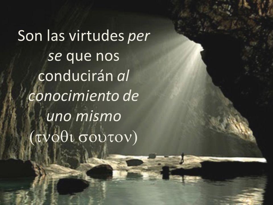Son las virtudes per se que nos conducirán al conocimiento de uno mismo (tnoqi souton)