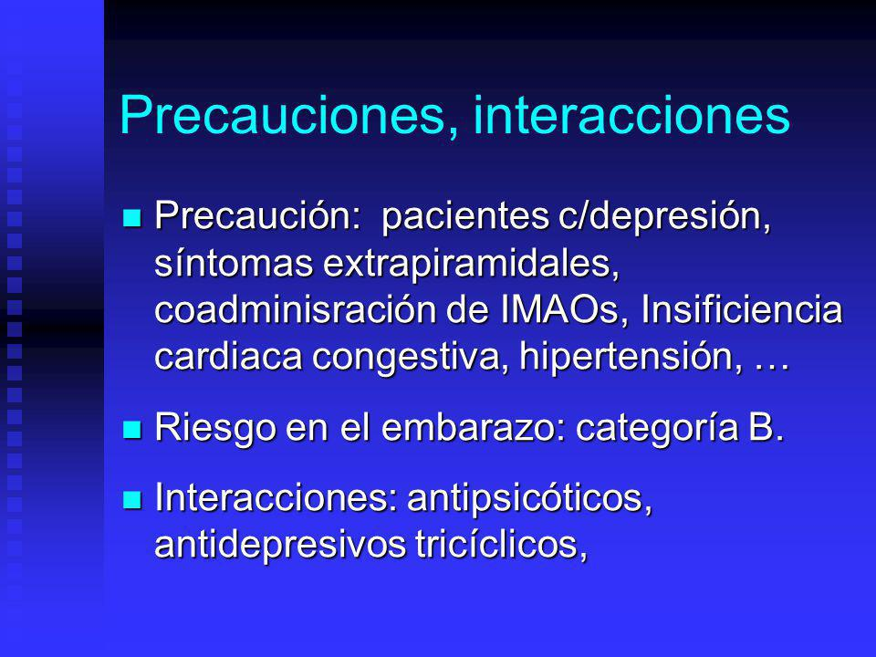 Precauciones, interacciones