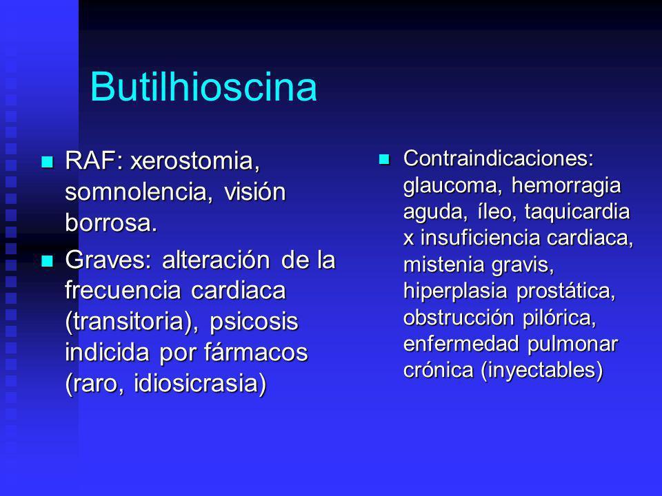 Butilhioscina RAF: xerostomia, somnolencia, visión borrosa.