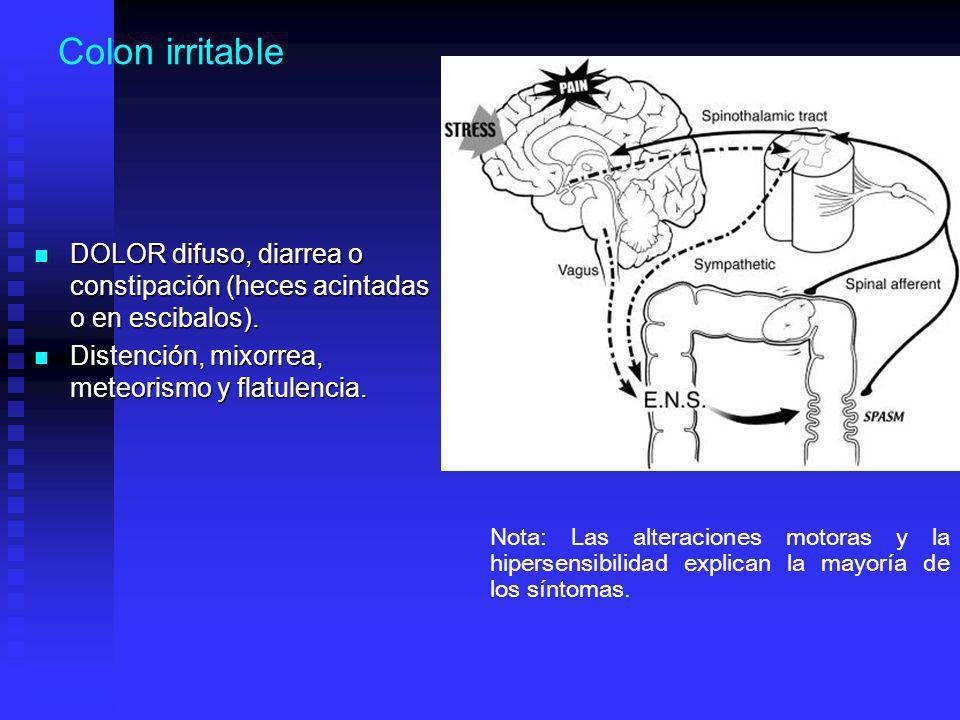 Colon irritable DOLOR difuso, diarrea o constipación (heces acintadas o en escibalos). Distención, mixorrea, meteorismo y flatulencia.