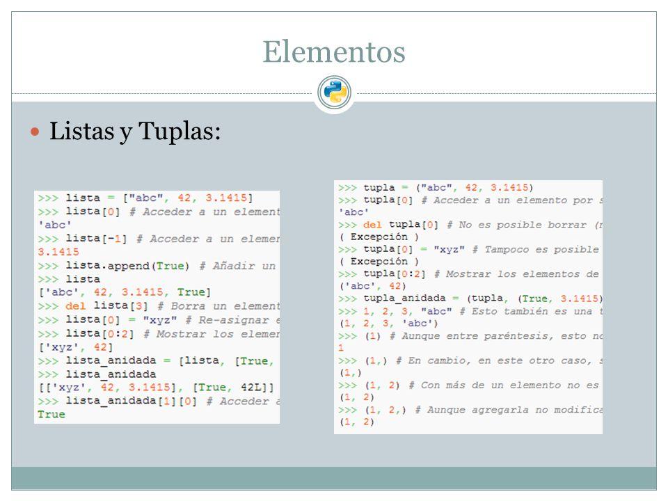 Elementos Listas y Tuplas: