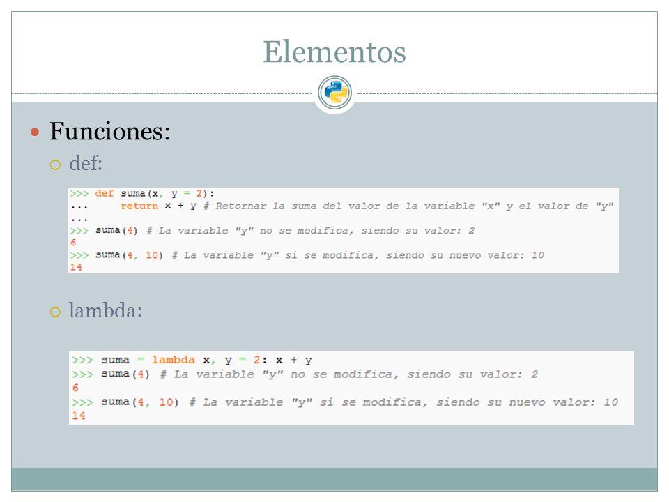 Elementos Funciones: def: lambda: