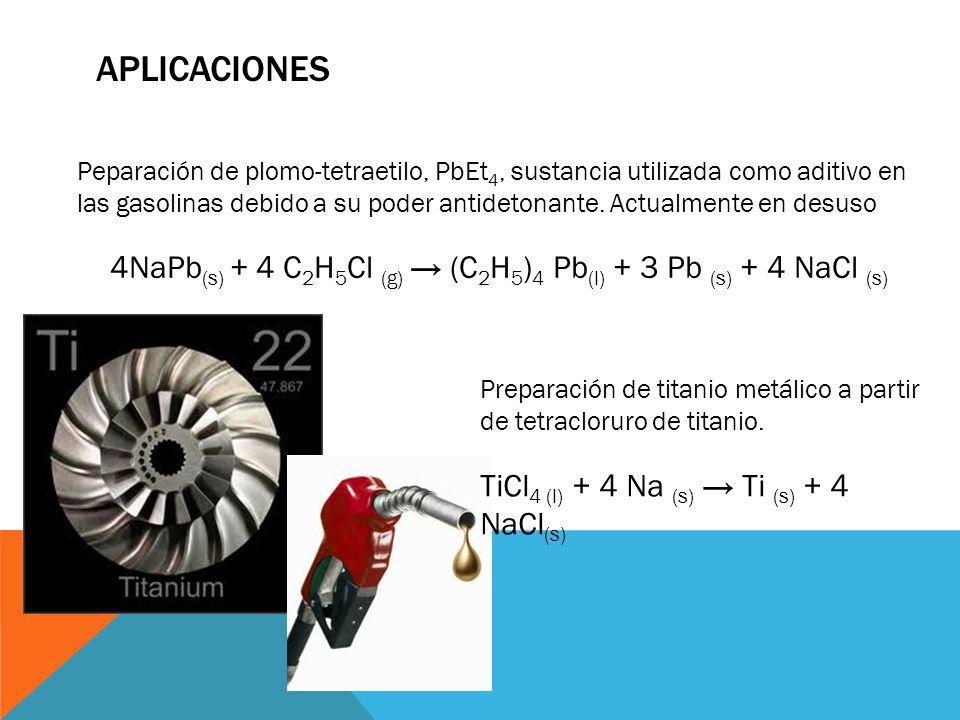 4NaPb(s) + 4 C2H5Cl (g) → (C2H5)4 Pb(l) + 3 Pb (s) + 4 NaCl (s)
