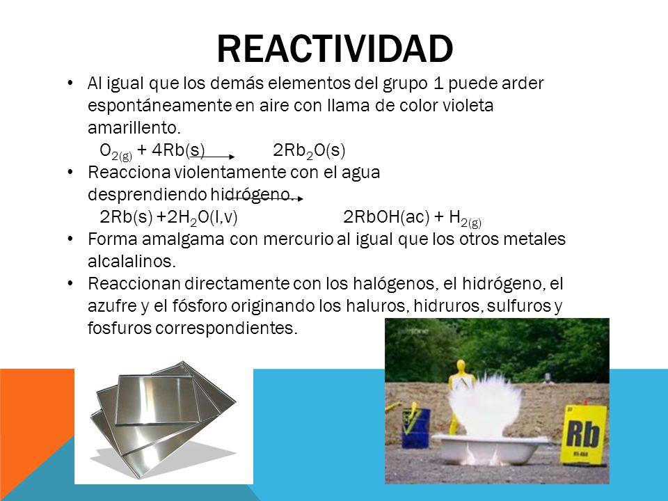 Reactividad Al igual que los demás elementos del grupo 1 puede arder espontáneamente en aire con llama de color violeta amarillento.