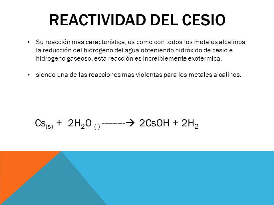 Reactividad del cesio Cs(s) + 2H2O (l) --------- 2CsOH + 2H2