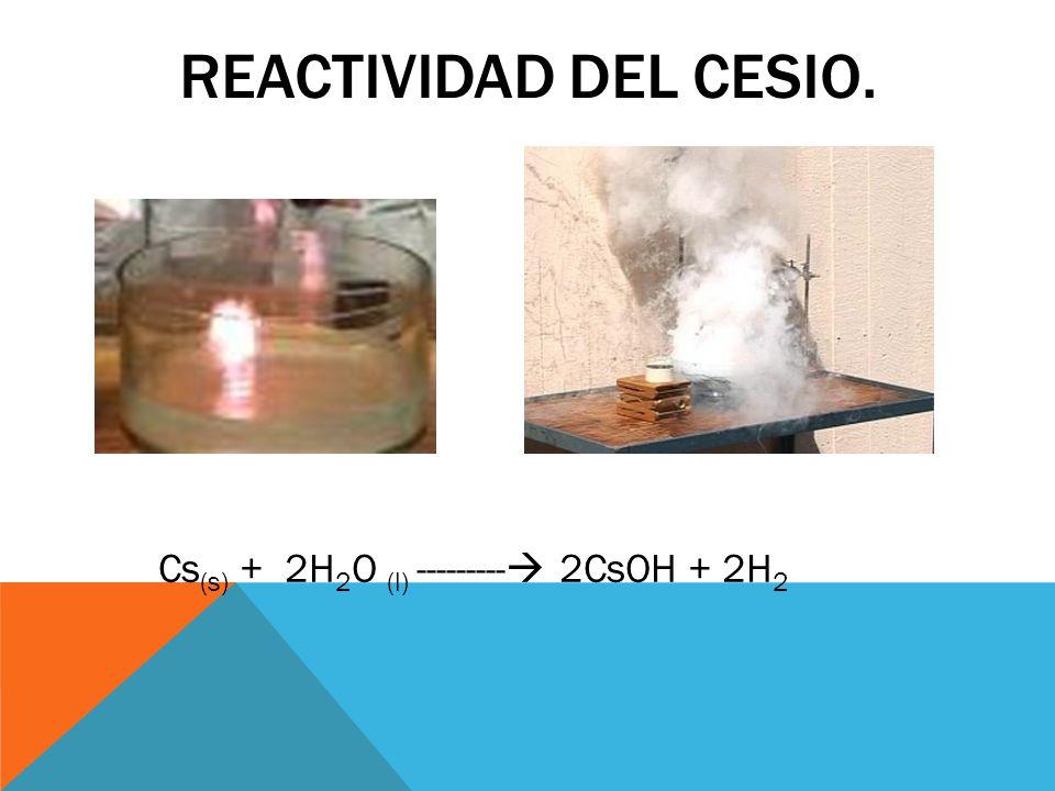 Reactividad del cesio. Cs(s) + 2H2O (l) --------- 2CsOH + 2H2