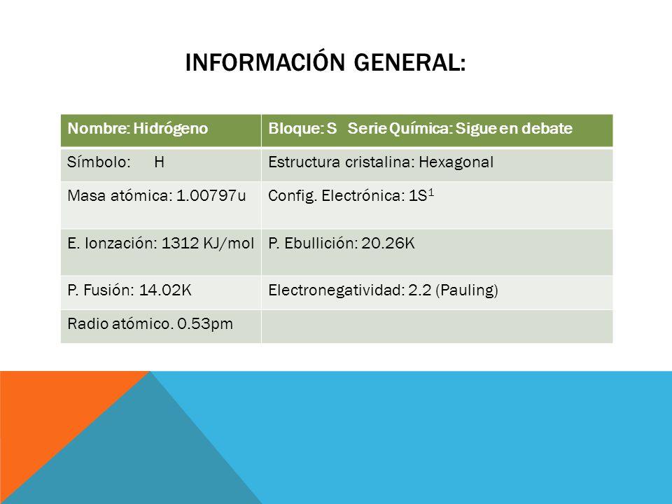 Información general: Nombre: Hidrógeno