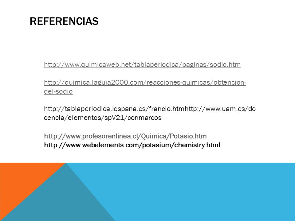 Referencias http://www.quimicaweb.net/tablaperiodica/paginas/sodio.htm