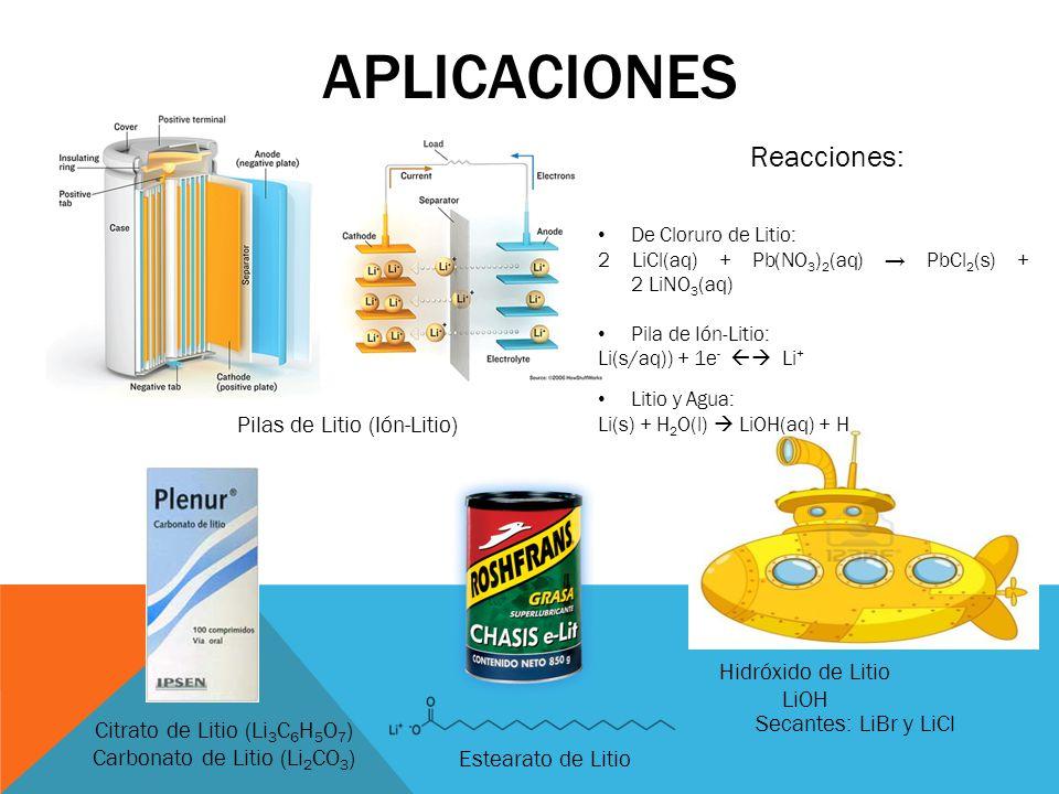 APLICACIONES Reacciones: Pilas de Litio (Ión-Litio) Hidróxido de Litio