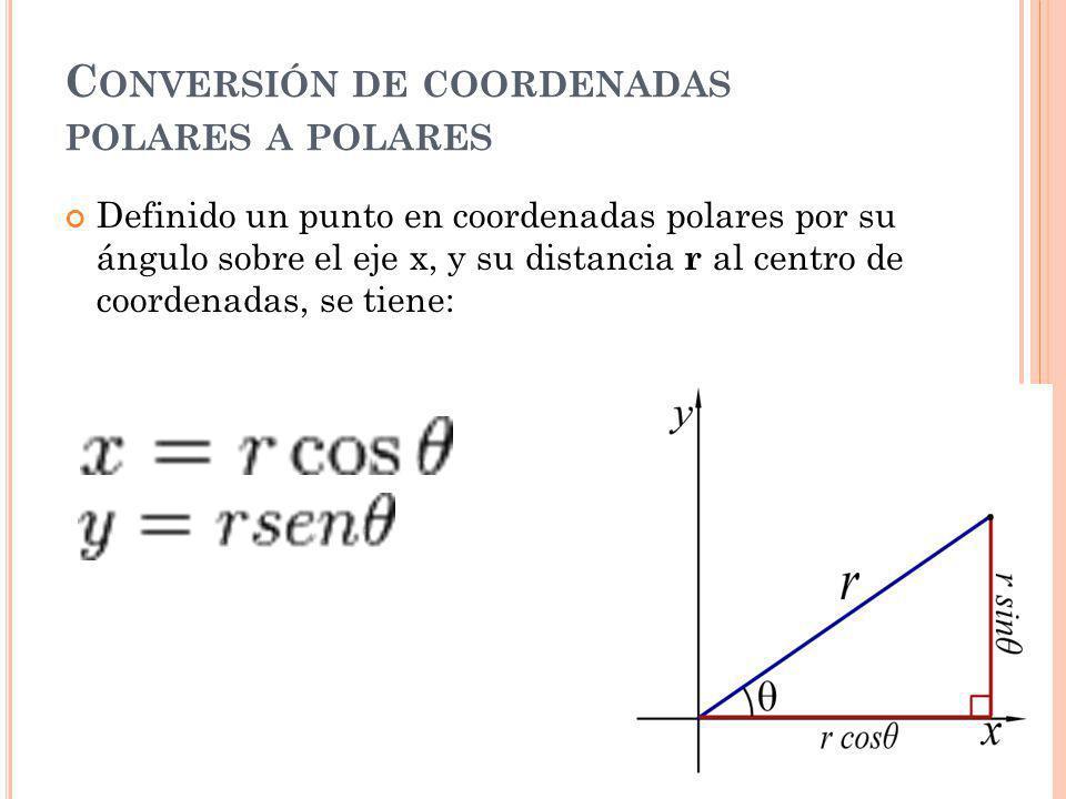 Conversión de coordenadas polares a polares